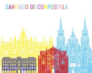 Wall Mural - Santiago de Compostela skyline pop