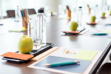 Conference Table With Water and Stationery