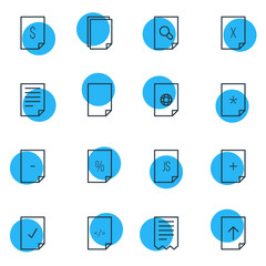 Vector Illustration Of 16 Document Icons. Editable Pack Of Internet, Folder, Percent And Other Elements.