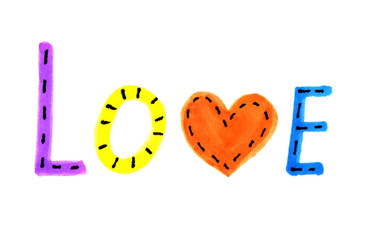 Word LOVE from colorful letters and heart symbol