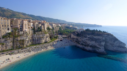 Amazing aerial view of Tropea Beach in Calabria, Italy