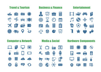 100 universal vector icons - Computer Networks, Media and Social.