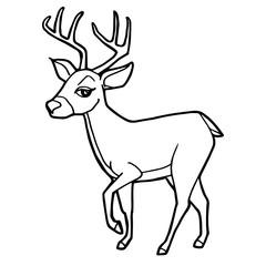 cartoon cute deer coloring page vector illustration