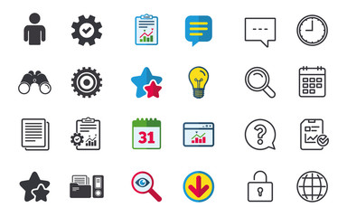 Accounting workflow icons. Human silhouette, cogwheel gear and documents folders signs symbols. Chat, Report and Calendar signs. Stars, Statistics and Download icons. Question, Clock and Globe. Vector