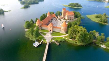 Aerial view of Trakai Castle, Lithuania