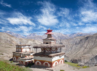 Wall Murals Nepal Ancient Bon stupa in Saldang village, Dolpo, Nepal, Himalayas