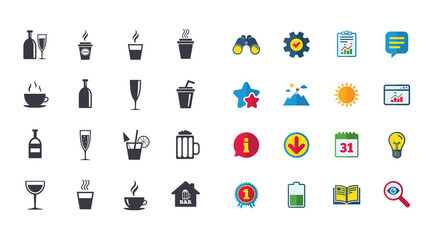 Set of Drinks, Beer and Cocktails icons. Coffee, Tea and Alcohol drinks. Wine bottle, Glass and Bar symbols. Calendar, Report and Browser window signs. Stars, Service and Download icons. Vector