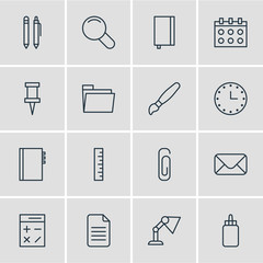 Vector Illustration Of 16 Instruments Icons. Editable Pack Of Calculate, Paperclip, Pushpin And Other Elements.