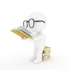 white human glasses reading book on white isolated background in 3D rendering