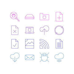 Vector Illustration Of 16 Internet Icons. Editable Pack Of Bug, Data Upload, Photo And Other Elements.