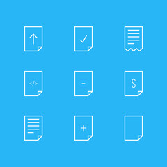 Vector Illustration Of 9 Paper Icons. Editable Pack Of Munus, Folder, HTML And Other Elements.