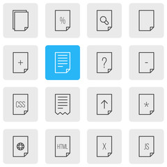 Vector Illustration Of 16 File Icons. Editable Pack Of Document, Basic, Code And Other Elements.