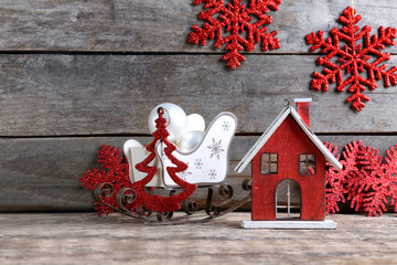 Trendy Christmas decorations on wooden background