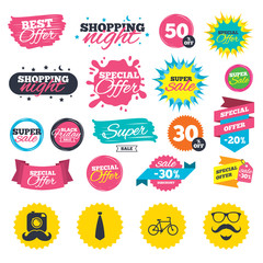 Sale shopping banners. Hipster photo camera. Mustache with beard icon. Glasses and tie symbols. Bicycle family vehicle sign. Web badges, splash and stickers. Best offer. Vector