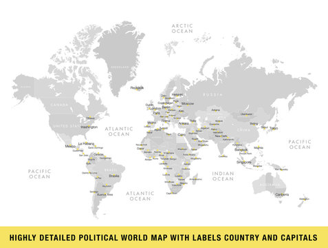 Highly detailed political world map with capitals