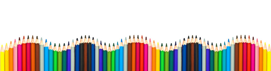 Wave of colorful wooden pencils isolated on white background, panoramic background, back to school concept