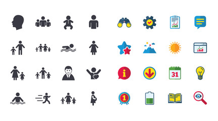 Set of People and Family icons. Swimming pool, Love and Children signs. Mother, Father and Pregnant woman symbols. Calendar, Report and Browser window signs. Stars, Service and Download icons. Vector
