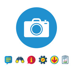 Photo camera sign icon. Digital photo camera symbol. Information, Report and Speech bubble signs. Binoculars, Service and Download icons. Vector