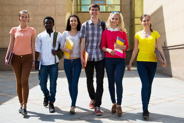 Group of diverse students walking together