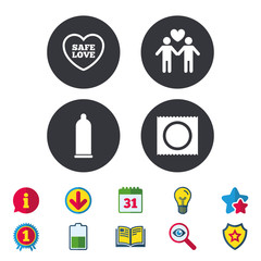 Condom safe sex icons. Lovers Gay couple signs. Male love male. Heart symbol. Calendar, Information and Download signs. Stars, Award and Book icons. Light bulb, Shield and Search. Vector