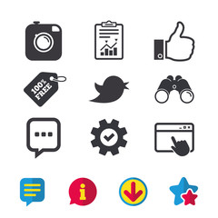 Hipster photo camera icon. Like and Chat speech bubble sign. Hand thumb up. Bird symbol. Browser window, Report and Service signs. Binoculars, Information and Download icons. Stars and Chat. Vector