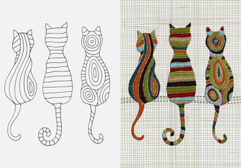 Set of Embroidery Designs. Cats. Zentangle style. Vector Embroidery home decor. Linen cloth texture. Colorful Embroidery design pattern