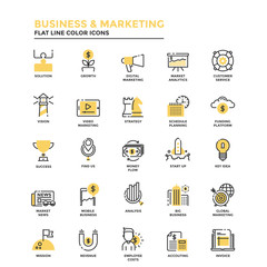 Flat Line Icons- Business and Marketing