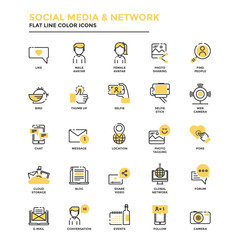 Flat Line Icons- Social Media and Network