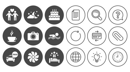 Hotel, apartment service icons. Swimming pool. Ventilation, birthday party and gay-friendly symbols. Document, Globe and Clock line signs. Lamp, Magnifier and Paper clip icons. Vector
