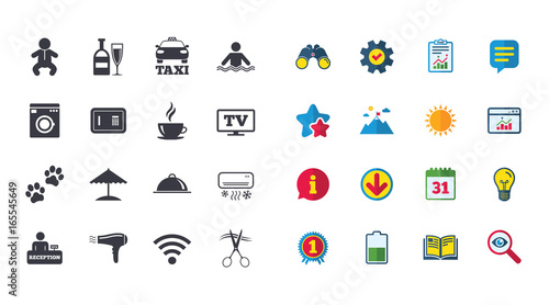 Set of Hotel services icons. Taxi, Wifi internet and ...