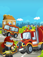 Cartoon stage with different cars for firefighting and fireman - colorful and cheerful scene / illustration for children