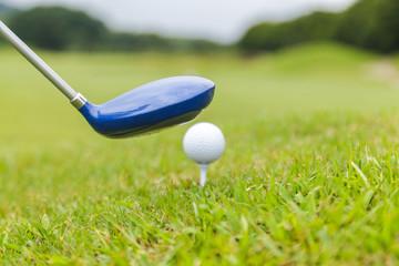 Golf club and golf ball on golf course