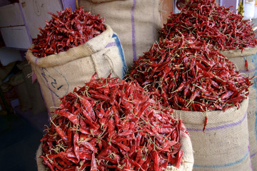Sacks of red chillies on sale at Jaipur market