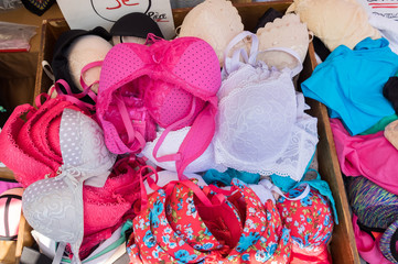 Cheap lingerie underwear for sale at local street market. Provence. France