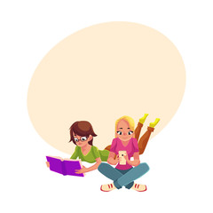 Two girls, woman in glasses reading book while lying on her stomach, another using mobile phone, cartoon vector illustration with space for text. Girls women using analogue and digital media