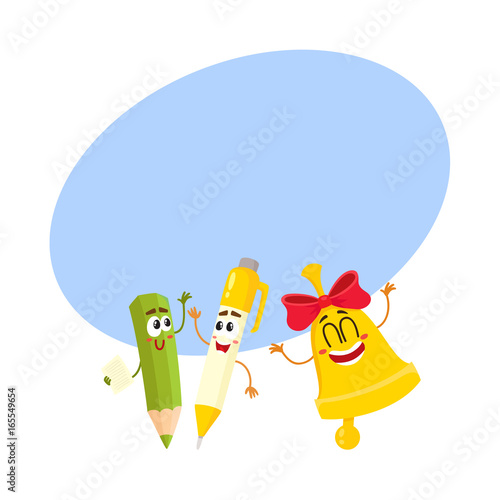 ec54db535 Cute, funny smiling pen, pencil, golden bell characters, back to school  concept, cartoon vector illustratio with space for text. Happy school  characters ...