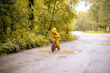 little girl in a autumn park on a bike near a puddle