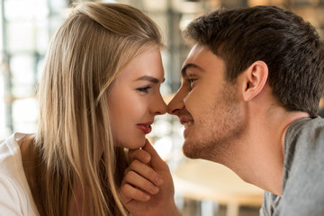 side view of young man kissing beautiful girlfriend