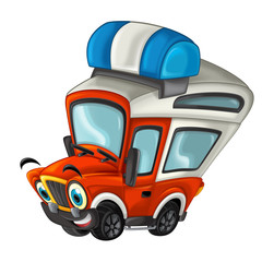 cartoon happy and funny off road fire fighter truck / smiling vehicle