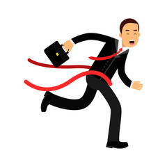 Businessman character crossing finish line, business challenge and success vector Illustration