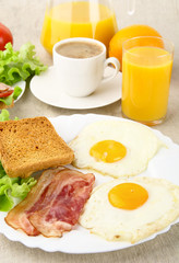 Healthy fatty breakfast with cup of coffee with bacon,eggs