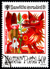 UKRAINE - CIRCA 2017: A postage stamp printed in Hungary shows Fairy Tale Scenes Tom Thumb, from series International Year of the Child, circa 1979