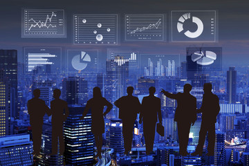 Financial graphs analysis and Businessman