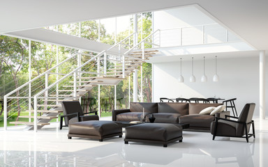 Wall Mural - Modern white living room and dining room 3d rendering image.The room has a high ceiling A staircase is a steel structure.There are large windows look out to see the nature