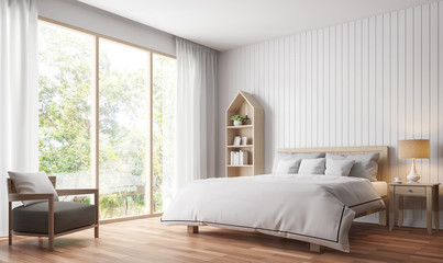 Modern vintage bedroom 3d rendering image.There are wood floor decorate wall with white wooden plank .There are large windows look out to see the nature
