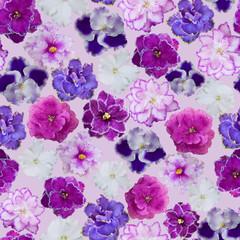 Seamless violets floral pattern