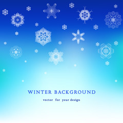 Abstract vector background with lacy snowflakes. Place for your text.