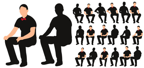 Fototapeta Vector, isolated silhouette of man sitting, with bow tie, collection of sitting men