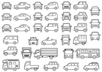 シンプルな車の正面と横(線画)