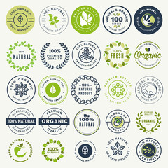 Set of stickers and badges for organic food and drink, and natural products. Vector illustration concepts for web design, packaging design, promotional material.